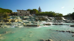 Tourists Bathing In Natural Thermal In Saturnia Tuscany Italy Stock Footage