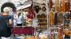 Gdansk, Poland. Famous St Dominic Fair. Stall with souvenirs Stock Footage