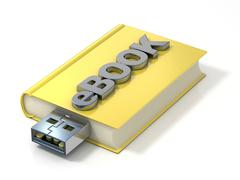EBook with USB plug. 3D Stock Illustration