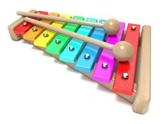 Xylophone with rainbow colored keys and with two wood drum sticks. 3D Stock Illustration