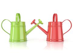 Two green and red 3D renders watering can Stock Illustration