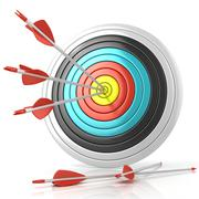 Archery target with red arrows in the center Stock Illustration