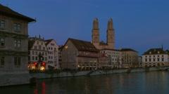 Zurich at night,  Switzerland, Europe Stock Footage
