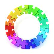 3D colorful puzzle chart wheel Stock Illustration
