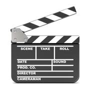 Movie clapperboard, opened. 3D Stock Illustration