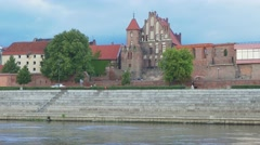 View to the Torun's old town from ship on the Vistula river. Stock Footage