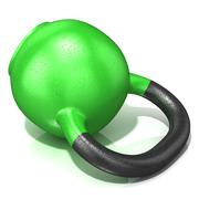 Green kettle bell weight, lying on its side, isolated on a white background.  Stock Illustration