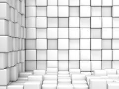 White, cubic, corner space. Raster modern background Stock Illustration