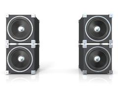 Two pairs of sound speakers. 3D Stock Illustration