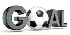 Word GOAL with the football, soccer ball. 3D Stock Illustration