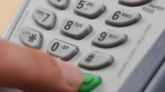 4K PIN Number Typing on credit Card Terminal Closeup Stock Footage