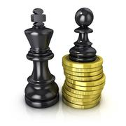 Black pawn standing on coins and black king, placed in the same plane Stock Illustration