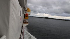 POV of Side of Ferry Motoring through Fjords of Norway Stock Footage