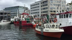 Pan Shot of Commercial Fishing Vessels Docked at Port Stock Footage