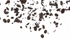 Coffee beans slow falling 3d animation Stock Footage