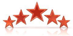 3D rendering of five red stars Stock Illustration