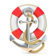 Anchor, lifebuoy and rope. 3D Stock Illustration