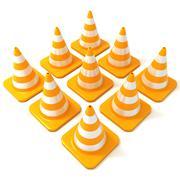 Traffic cones 3D Stock Illustration
