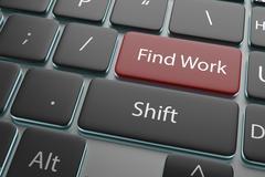 "3d illustration a button ""find work"" on keyboard Stock Illustration"