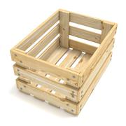 Empty wooden crate. Side view. 3D Stock Illustration
