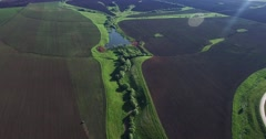 Russian field from the air Stock Footage