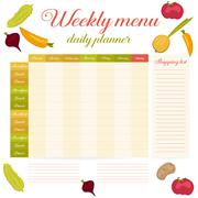 Weekly menu cute vintage daily planner Stock Illustration