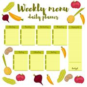 Weekly menu green daily planner - stock illustration