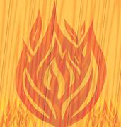 Flames fire on the wooden background Stock Illustration