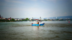 Timelapse Leisure Boat turning from river Rhine to River Main at junction Mainz Stock Footage