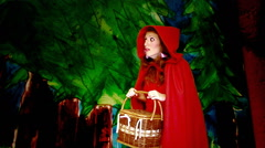 Little Red Riding Hood forest MS Stock Footage