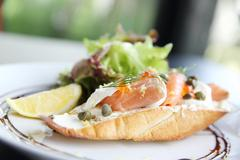 Canapes with smoked salmon and cream cheese Stock Photos