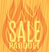 Sale Parquet fire flames wooden boards Stock Illustration