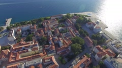 Aerial view of the city of Zadar Stock Footage