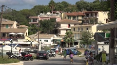 4K Kassiopi old port with residential house architecture in Corfu Island tourist Stock Footage