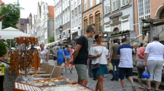 Gdansk, Poland. Mariacka street famous for amber stalls - stock footage