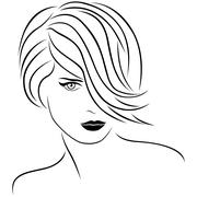 Attractive woman with stylish short hairstyle Stock Illustration