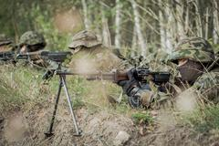 Rangers in an army training - stock photo