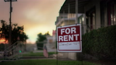 For Rent sign on front lawn Stock Footage