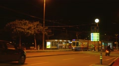 Tram station in Zurich at night, Switzerland, Europe Stock Footage