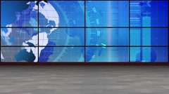 News TV Studio Set 210- Virtual Green Screen Background Loop Stock Footage