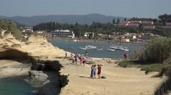 4K Aerial view Sidari resort in Corfu Island tourist people visit Love Channel Stock Footage