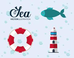 Cartoon icon set. Sea animal and lifestyle design. Vector graphi Stock Illustration