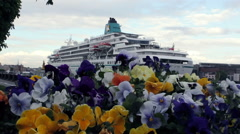 Colourful Flowers With Transatlantic Cruise Liner On Background Stock Footage