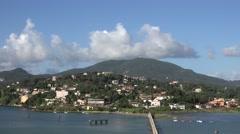 4K Aerial view Corfu island town amazing coastline cityscape Greece travel icon Stock Footage