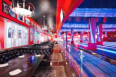 Blurred image of colorful bowling arena with circle light or bokeh. Concept for Stock Photos
