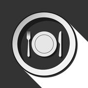Icon - cutlery with plate and shadow Stock Illustration
