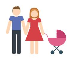 Parents and baby icon. Avatar Family design. Vector graphic Stock Illustration