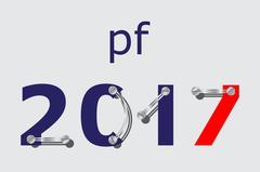 Pf 2017 - blue, red with plates and screws Stock Illustration