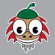 Cartoon - styled acorn with green cap and red hair Stock Illustration