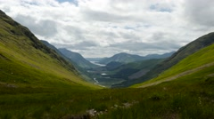 Timelapse over glen etive and loch etive from a high vantage point Stock Footage